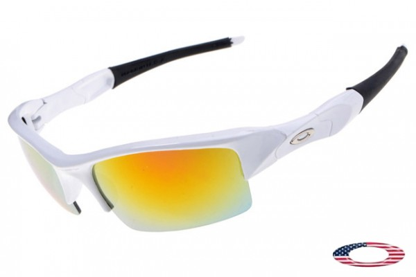 8d6d8e5899 Buy Fake Oakleys Flak Jacket Sunglasses White   Fire Iridium Wholesale